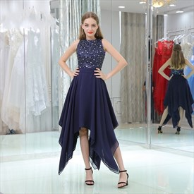 Navy Blue High Neck Beaded Asymmetrical Chiffon Tea Length Prom Dress