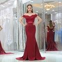 Off The Shoulder Cap Sleeve Beaded Applique Prom Dress With Train