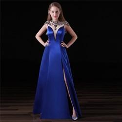 Elegant Royal Blue High Neck Beaded Cap Sleeve Prom Dress With Split