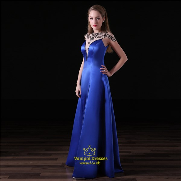 Elegant Royal Blue High Neck Beaded Cap Sleeve Prom Dress With Split