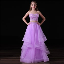 Lilac Strapless Beaded Applique Tiered Tulle Two Piece Prom Dress