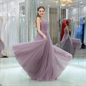 Lavender Square Neckline Sleeveless Ruched Tulle Long Prom Dress
