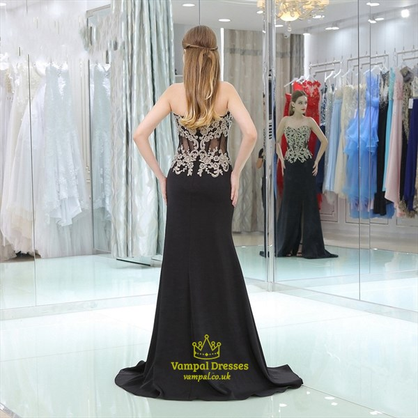 Sweetheart Sleeveless Beading Applique Satin Prom Dress With Split
