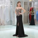 Sweetheart Sleeveless Beading Applique Satin Prom Dress With Split