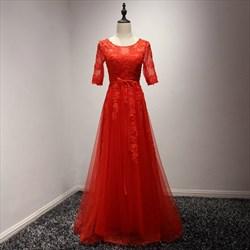 Red A Line Jewel Neckline Half Sleeve Applique Tulle Long Prom Dress