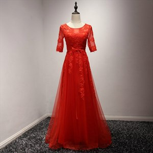 Red A Line Jewel Neckline Half Sleeve Applique Tulle Long Prom Dress