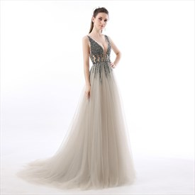 Grey V Neck Beaded Deep V Back Sleeveless Floor Length Prom Dress