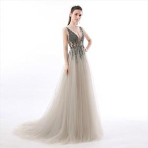 Grey V Neck Beaded Deep V Back Sleeveless Floor Length Prom Dress