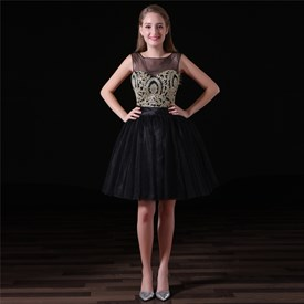 A Line Bateau Neck Beaded Keyhole Back Short Organza Prom Dresses