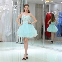 Princess Sweetheart Sleeveless Beaded Applique Short Prom Dress