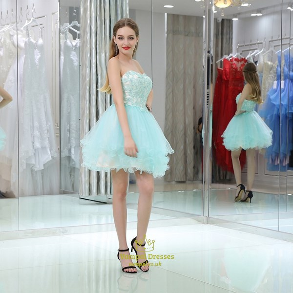 Princess Sweetheart Sleeveless Beaded Applique Short Prom Dress