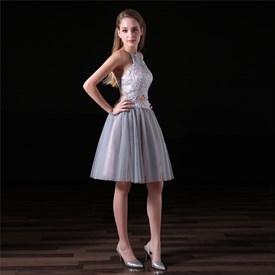 A Line Halter Neck Sleeveless Keyhole Back Two Piece Short Prom Dress
