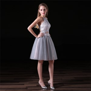 A Line Halter Neck Sleeveless Keyhole Back Two Piece Short Prom Dress
