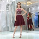 Burgundy Halter Neck Sleeveless Beaded Chiffon Short Prom Dress