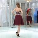 Burgundy Halter Neck Sleeveless Beaded Chiffon Short Prom Dress