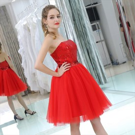 Elegant Red Strapless Sleeveless Sequin Top Tulle Bottom Short Dress