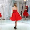 Elegant Red Strapless Sleeveless Sequin Top Tulle Bottom Short Dress