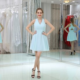 Simple A Line Light Blue V Neck Keyhole Ruched Waist Short Dress