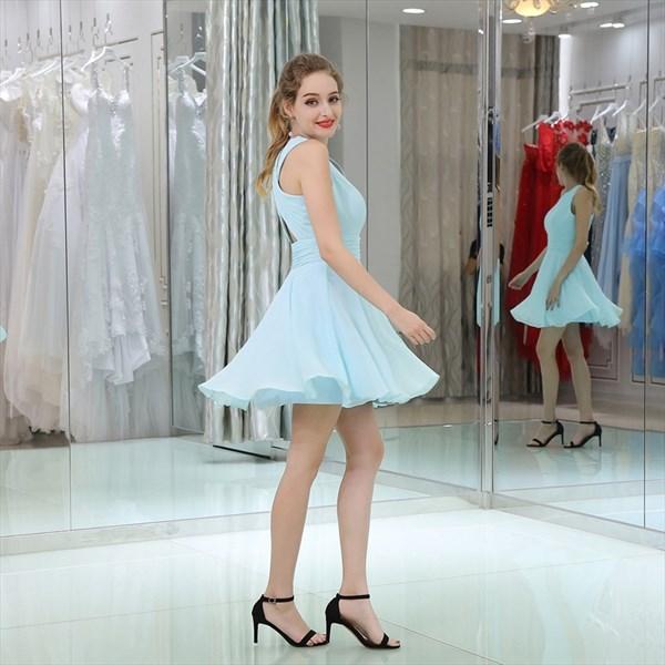Simple A Line Light Blue V Neck Keyhole Ruched Waist Short Dress