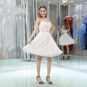 A-Line Princess Pink Sweetheart Sleeveless Crystal Lace Short Dress