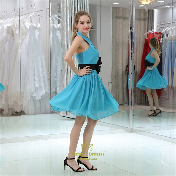 Turquoise Cross Neck Sleeveless Ruched Short Dress With Flowers