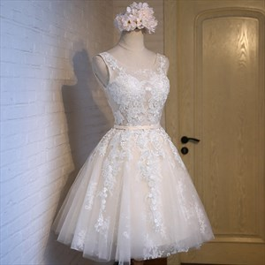 Champagne Scoop Neck Sleeveless Lace Applique Tulle Short Dress