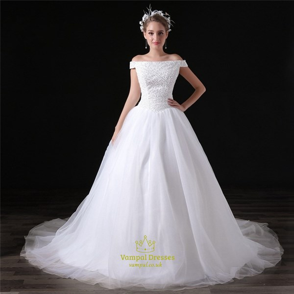 Simple Off The Shoulder Beaded Bodice Wedding Dress With Train