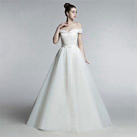Off The Shoulder Beaded Lace Applique Tulle Wedding Dress With Bow