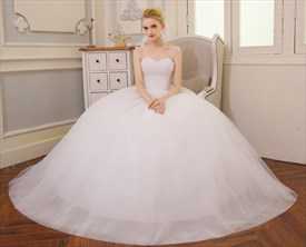 Elegant Sweetheart Sleeveless Beaded Bodice Ball Gown Wedding Dress