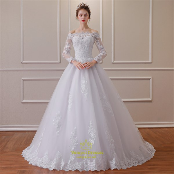 Princess Off The Shoulder Long Sleeve Beading Applique Wedding Dress