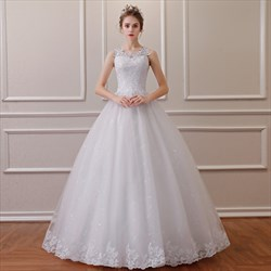 Jewel Sleeveless Beading Applique Sequin Embellished Wedding Dress