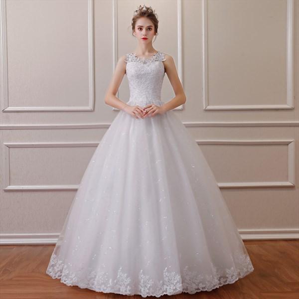 Jewel Sleeveless Beading Applique Sequin Embellished Wedding Dress