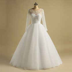 Jewel Beaded Bodice Sheer Back Long Sleeve Ruched Tulle Wedding Dress