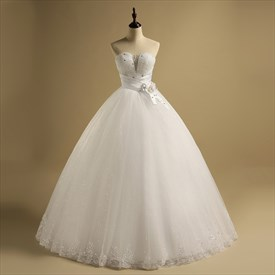 Sweetheart Beaded Sleeveless Sequin Tulle Wedding Dress With Belt