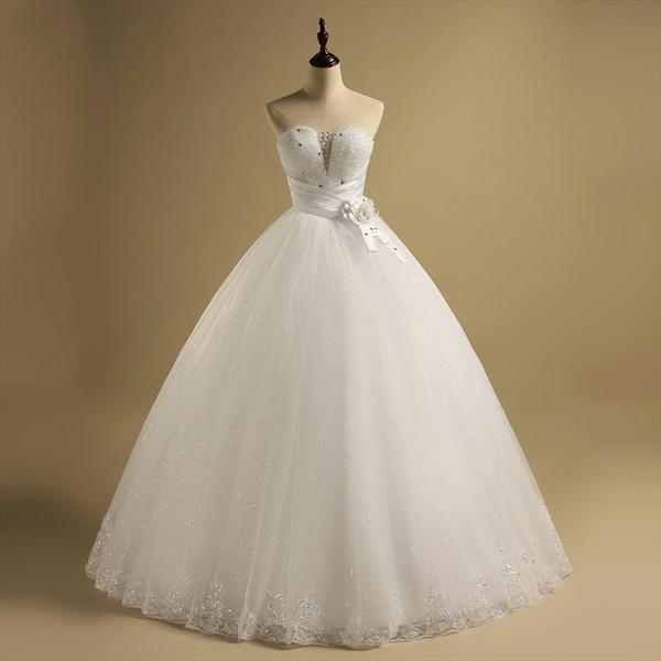 Sweetheart Beaded Sleeveless Sequin Tulle Wedding Dress With Belt