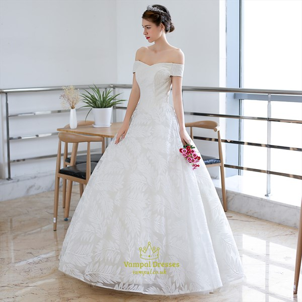 Off The Shoulder Short Sleeve Applique Wedding Dress With Lace Up