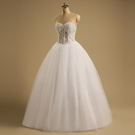 Sleeveless Sweetheart Beaded Applique Floor Length Wedding Dress