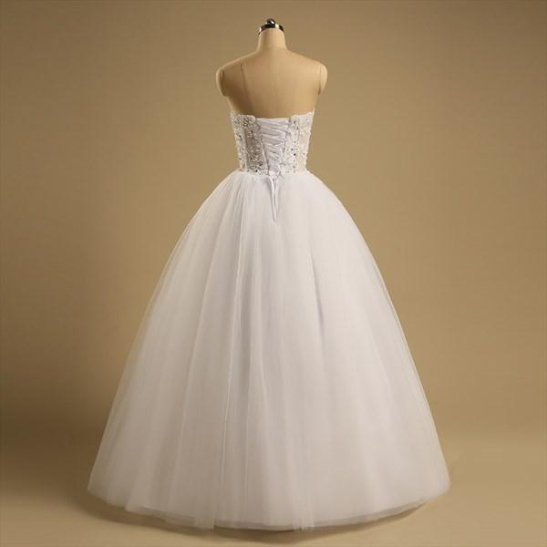 Sleeveless Sweetheart Beaded Applique Floor Length Wedding Dress