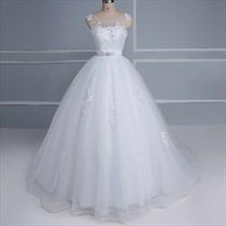 Bateau Sleeveless Beaded Applique Tulle Wedding Dress With Bow