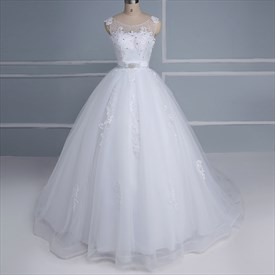 Bateau Sleeveless Beaded Applique Tulle Wedding Dress With Bow