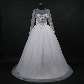 High Neck Long Sleeve Crystal Beaded Keyhole Back Wedding Dress