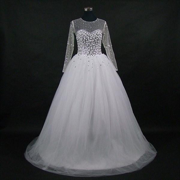 High Neck Long Sleeve Crystal Beaded Keyhole Back Wedding Dress
