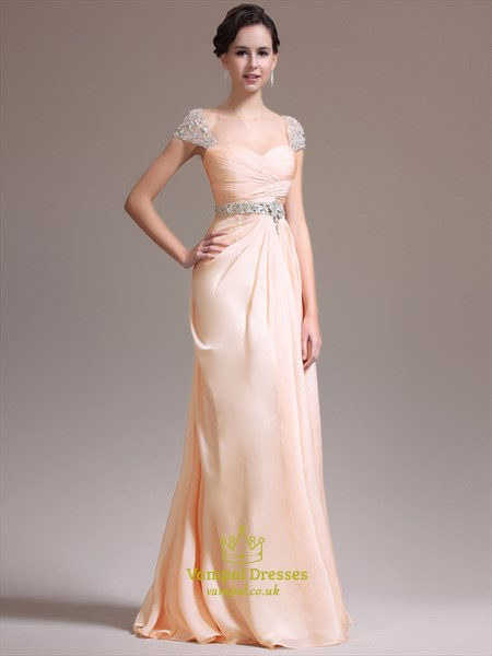 Blush Pink Square Beaded Cap Sleeve Ruched Chiffon Prom Dress
