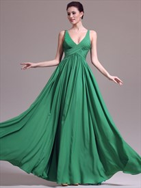 A Line Emerald Green V Neck Sleeveless Ruched Chiffon Long Prom Dress