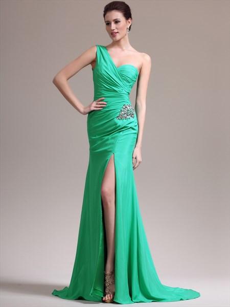 Light Blue One Shoulder Ruched Crystal Sheath Prom Dress With Split