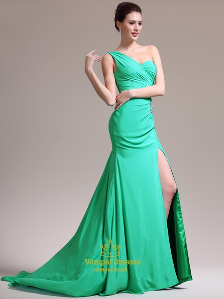 Light Blue One Shoulder Ruched Crystal Sheath Prom Dress With Split