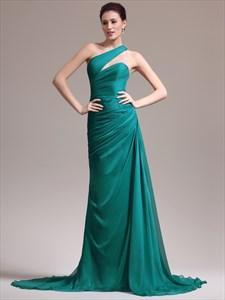 Emerald Green One Shoulder Ruched Bodice Sheath Long Prom Dress