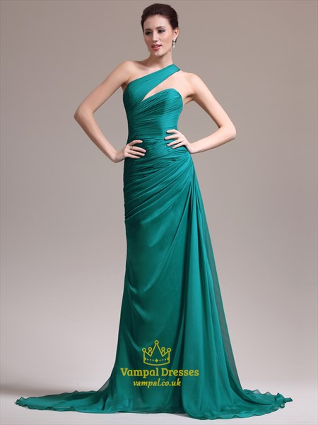 Emerald Green One Shoulder Ruched Bodice Sheath Long Prom Dress