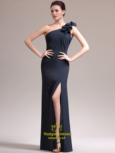 Navy Blue One Shoulder Sleeveless Ruched Prom Dress With Split