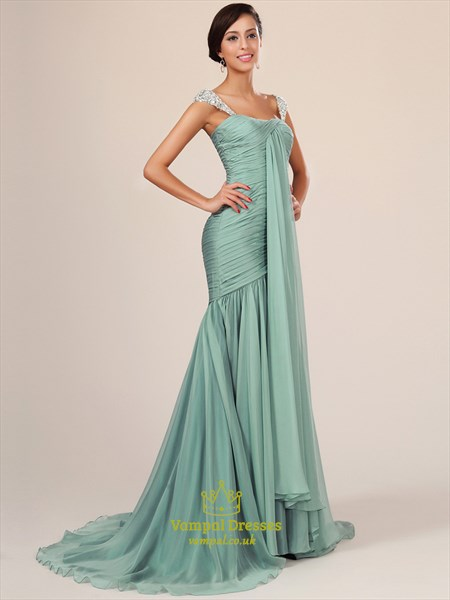 Square Sleeveless Beaded Ruched Chiffon Long Prom Dress With Train